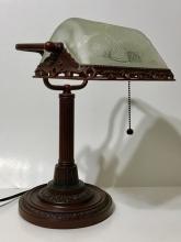 Vintage Heavy Bronze Swivel Student Desk Lamp