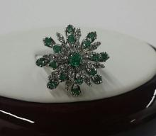 Large 14K White Gold Diamond & Emerald Ring