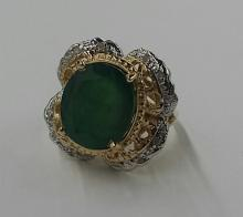 Large 14K Gold, Emerald & Diamond Ring