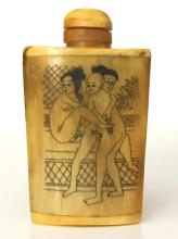 Erotic Chinese Hand Painted BONE Snuff Bottle
