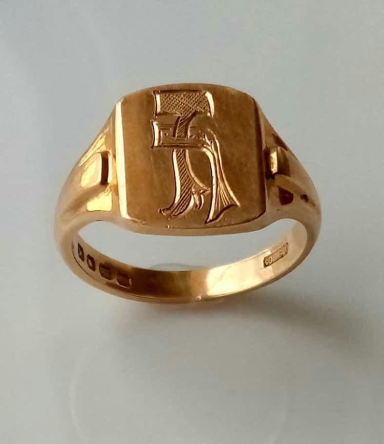18k Gold Ring - 4 types of stamps