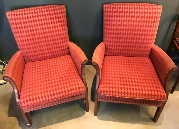 A pair of upholstered armchairs 20th century Home furniture auctions cape town