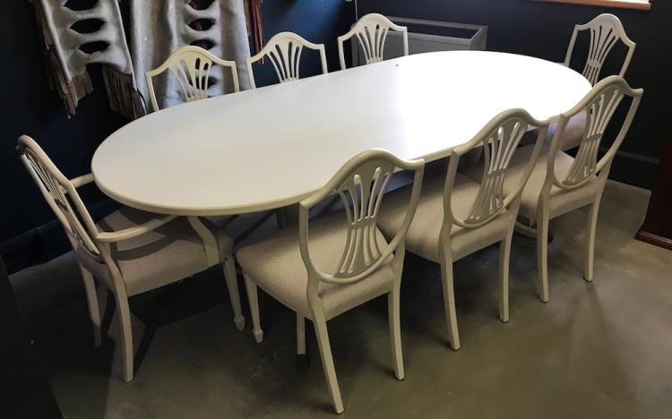 A white ducoed hepplewhite style eight seater dining table a for 12 seater dining table south africa