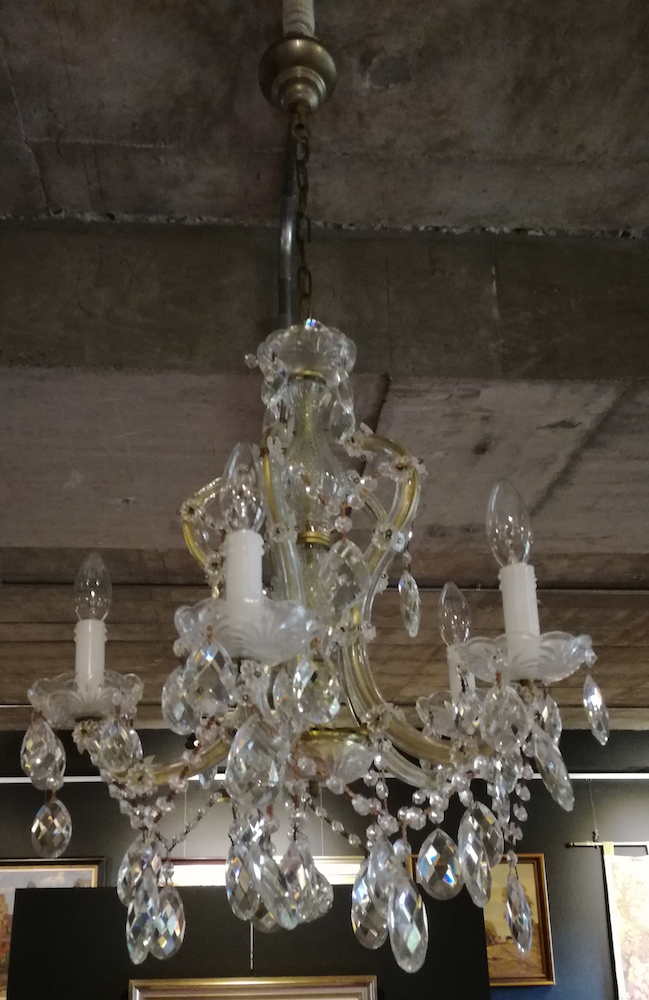 A five branch cut glass chandelier 20th century - Chandelier a 5 branches ...