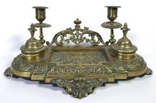 A Victorian Brass Table Inkstand, Late 19th Century,
