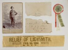A Framed Collection of 'Relief of Ladysmith' Boer War Memorabilia, 1900