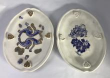 Two Contemporary South African Blue and White Platters