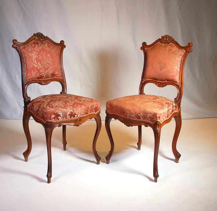 A Pair Of French Walnut Side Chairs Late 19th Century