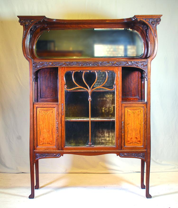 An art nouveau mahogany sideboard display c1890 Home furniture auctions cape town