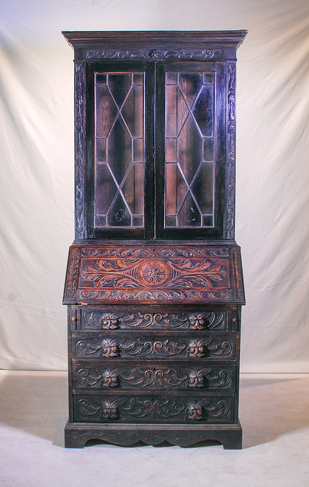 An Oak Fall Front Bookcase Late 19th Century