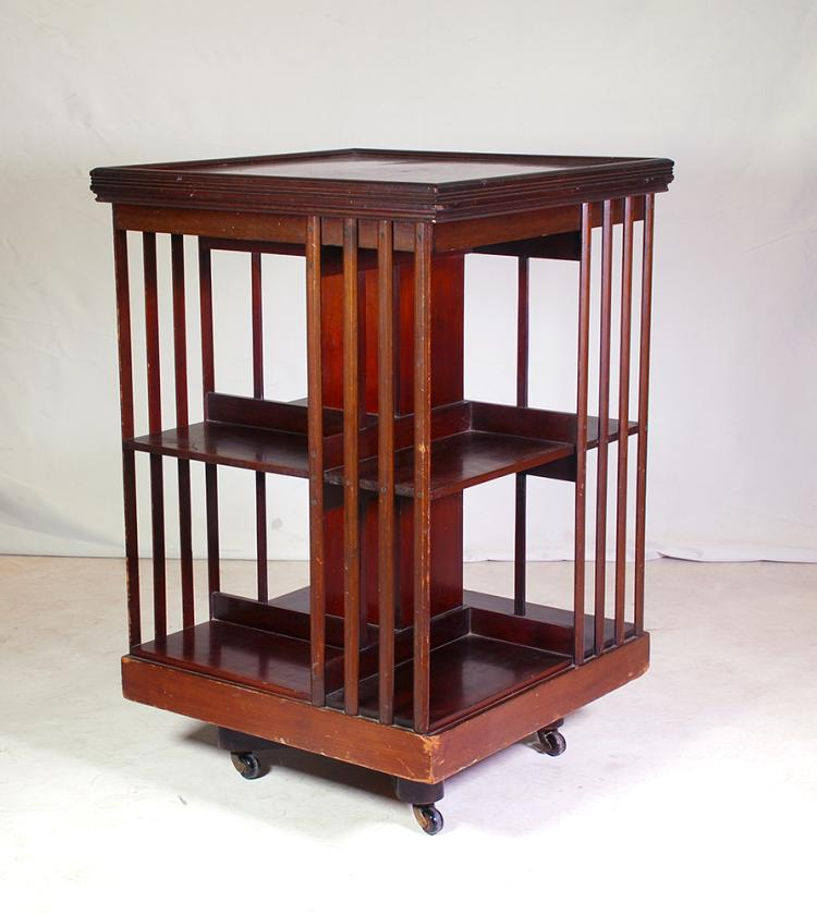 An edwardian mahogany revolving two tier bookcase early 20t Home furniture auctions cape town