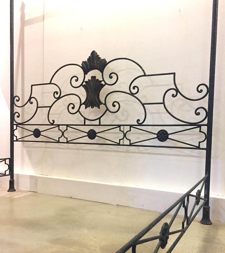 A Queen Size Wrought Iron Four Poster Bed 20th Century