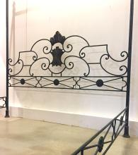 A Queen Size Wrought Iron Four Poster Bed, 20th Century