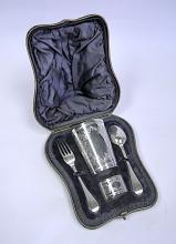 A Victorian Cased Silver Christening Set, James Wakely & Frank Clarke Wheeler, London, 1898