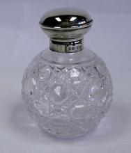 A Silver-Mounted Clear Cut-Glass Scent Bottle, Sheffield, 2002