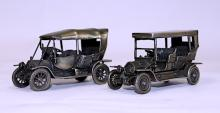 Two Small Italian Silver Models of Vintage Cars, Unoaerre, 20th Century, .800 Standard
