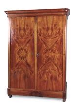 A Continental Flame Mahogany Wardrobe, Late 19th Century