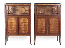 A Pair of French Ormolu Mounted Rosewood and Marquetry Display Cabinets, 19th Century