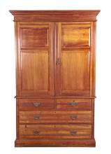 A Bleached Mahogany Linen Press, Late 19th Century