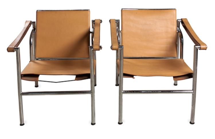 A pair of le corbusier lc1 style armchairs Home furniture auctions cape town