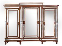 An Art Deco Oak And Mirrored  Breakfront Wardrobe, Circa 1920