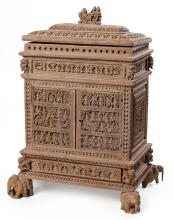 An Early 20th Century Indian Sandalwood Small Trinket Cabinet