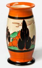 A Clarice Cliff 'Orange Alpine Trees And House' Pattern Vase, 1930s