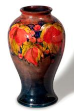 A Walter Moorcroft 'Leaf And Berry' Pattern Flambe Vase, Circa 1940