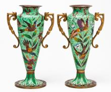 A Pair Of French Gilt-Metal Mounted Cloisonne Enamel Vases, 19th Century