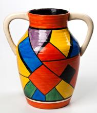 A Clarice Cliff 'Cubist' Pattern Two-Handled Lotus Vase, Circa 1930