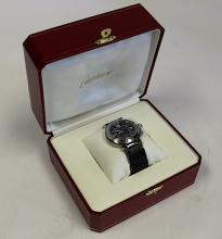 A Pasha De Cartier Stainless Steel Wristwatch