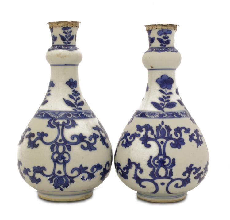 A Pair of Chinese Silver-mounted Blue and White Vases, Kangxi