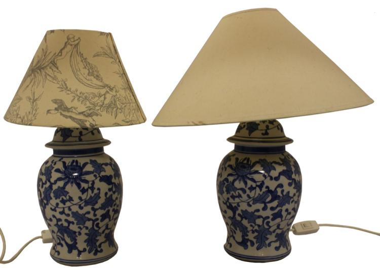 A Pair of Chinese Blue and White Lamp Bases