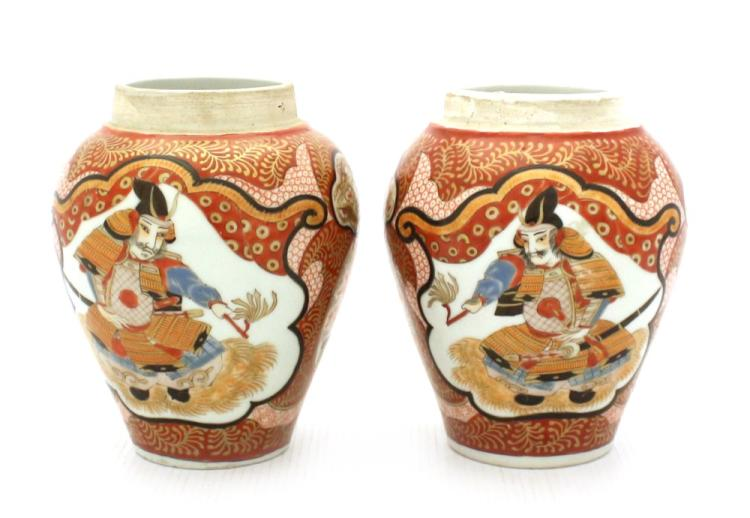 A Pair of Japanese Kutani Jars, Meiji