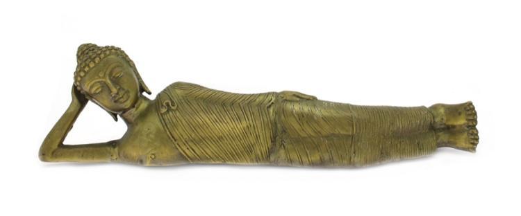 A Burmese Brass Figure of a Reclining Buddha