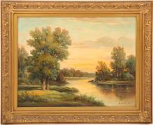 HOWARD ATKINSON LANDSCAPE OIL ON CANVAS PAINTING