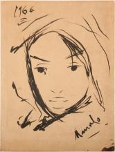 VICTOR MANUEL INK ON PAPER PORTRAIT STUDY 1966