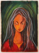 VICTOR MANUEL MIXED MEDIA PORTRAIT OF A YOUNG WOMAN