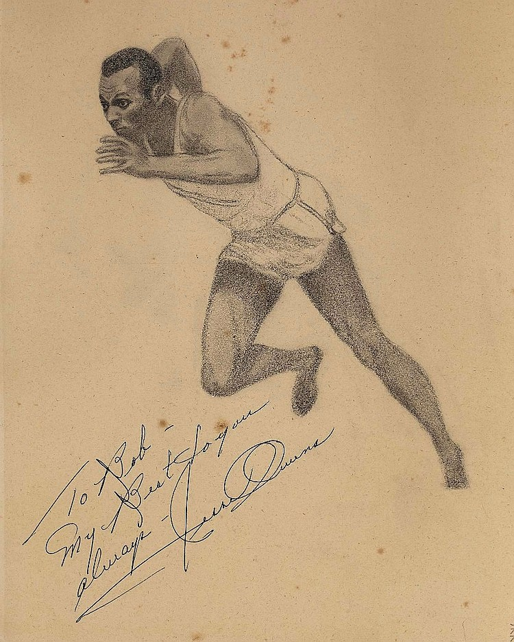 Jesse Owens Original Signed sketch