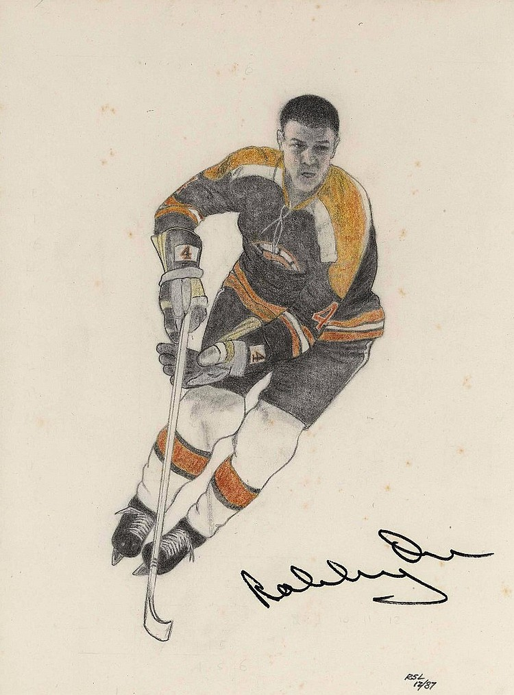 Bobby Orr Signed Original Sketch