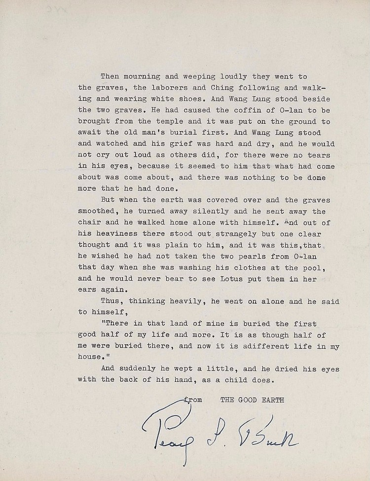 Pearl S. Buck Original Signed Quotation from her Pulitzer Prize Book