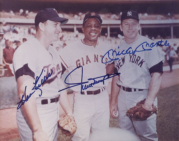 Mickey Mantle, Willie Mays and Harmon Killebrew signed 8x10 photograph