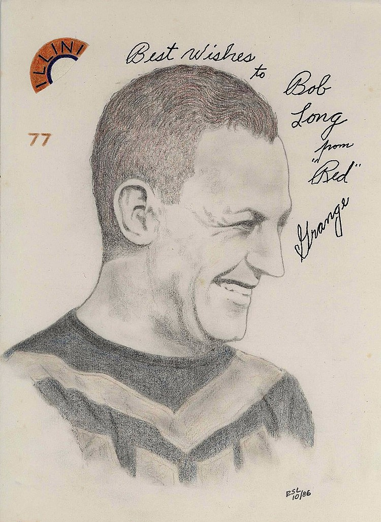 Red Grange Signed Original Portrait Sketch