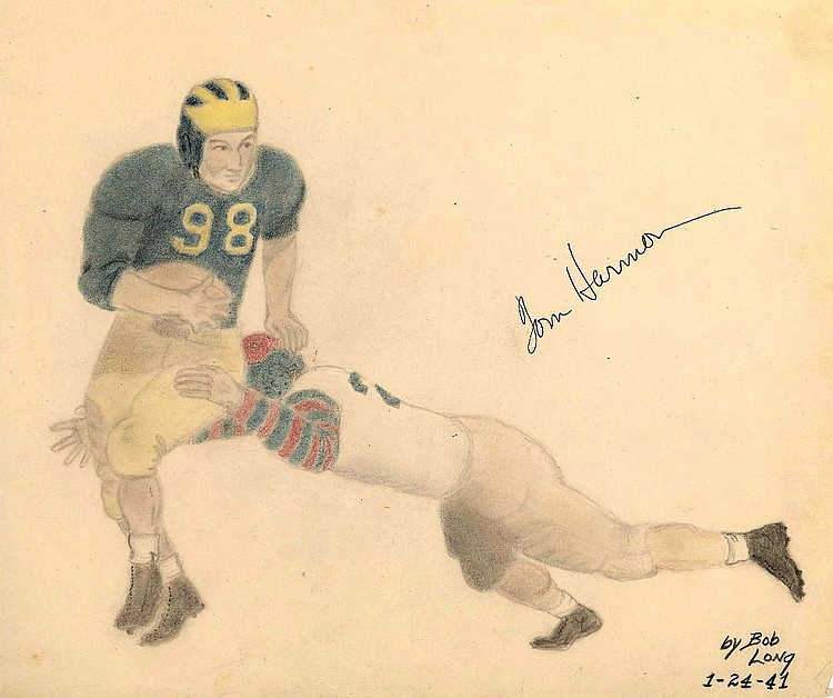 Tom Harmon Signed Original Pencil Sketches