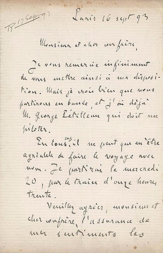 Emile Zola Hand Written letter