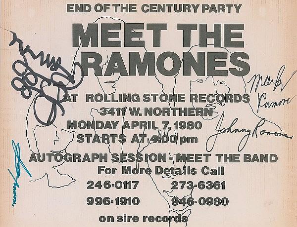 Meet the Ramones Signed Flyer