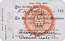 Harry Houdini Signed Magic Membership Card