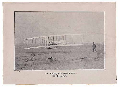 Wright Brothers First Flight Signed photo by Orville Wright