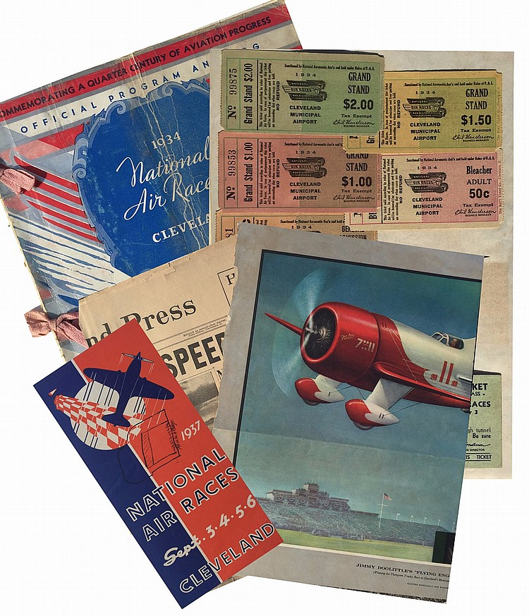 Collection of 1930's National Air Races Autographs, Programs and Related Ephemera.