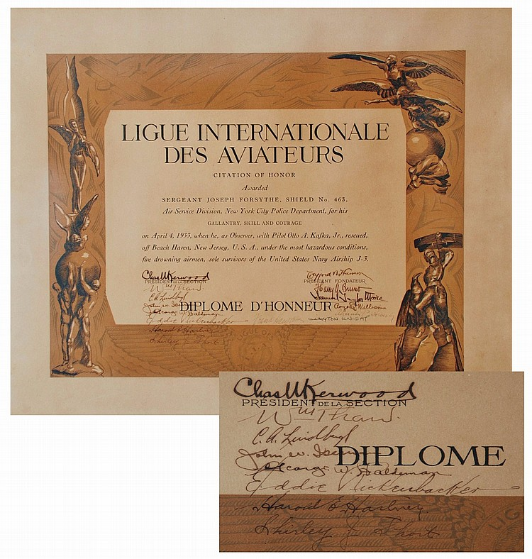 Signed Certificate for Heroism Rescue for the Akron search and Air Ship AJ3, ( By Lindbergh, Rickenbacker, Hawks ...)